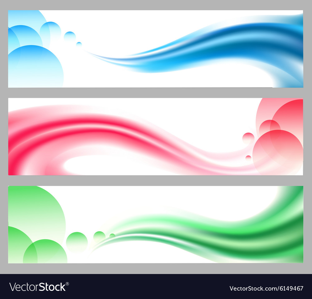 Abstract smooth wavy headers or banners set