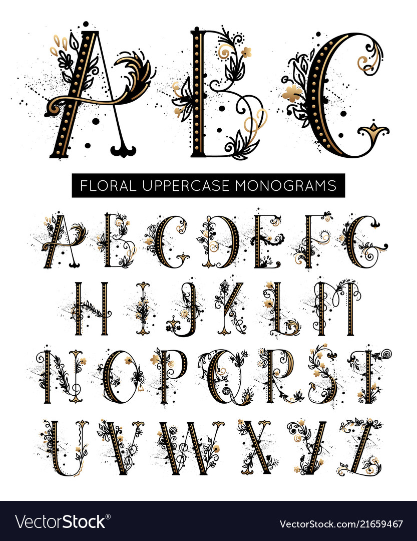 Alphabet hand drawn floral uppercase letters