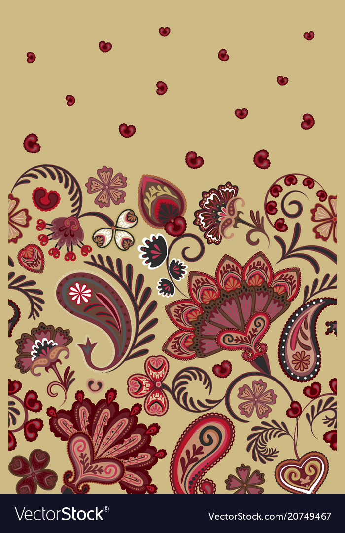 Border indian floral paisley patten seamless