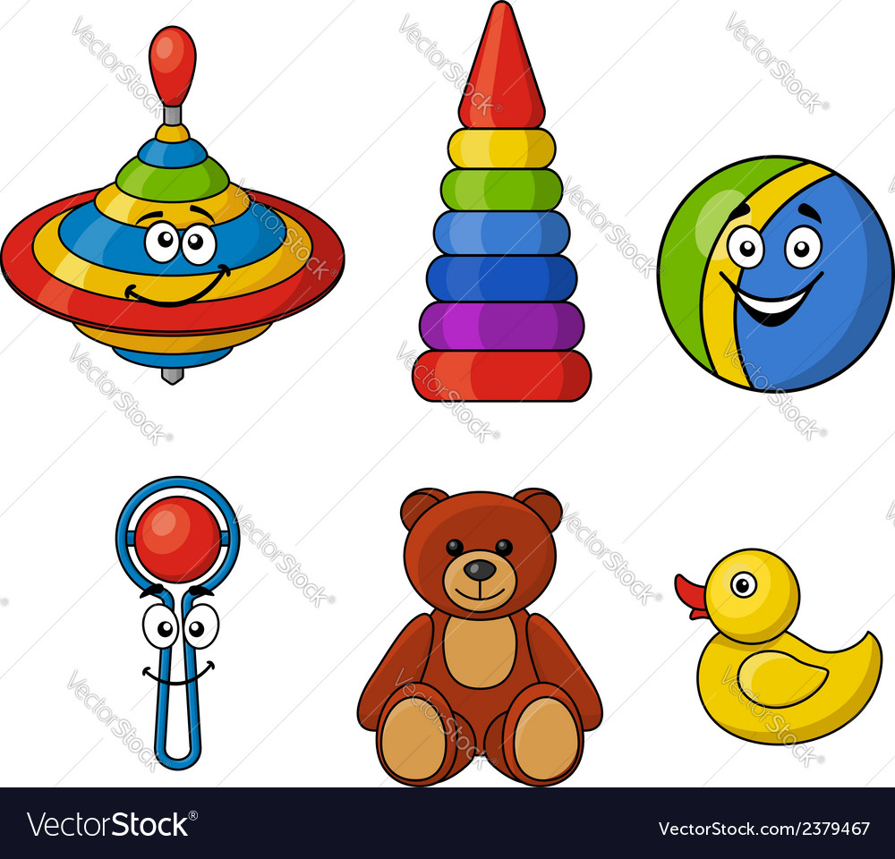 Brightly colored kids toys vector image