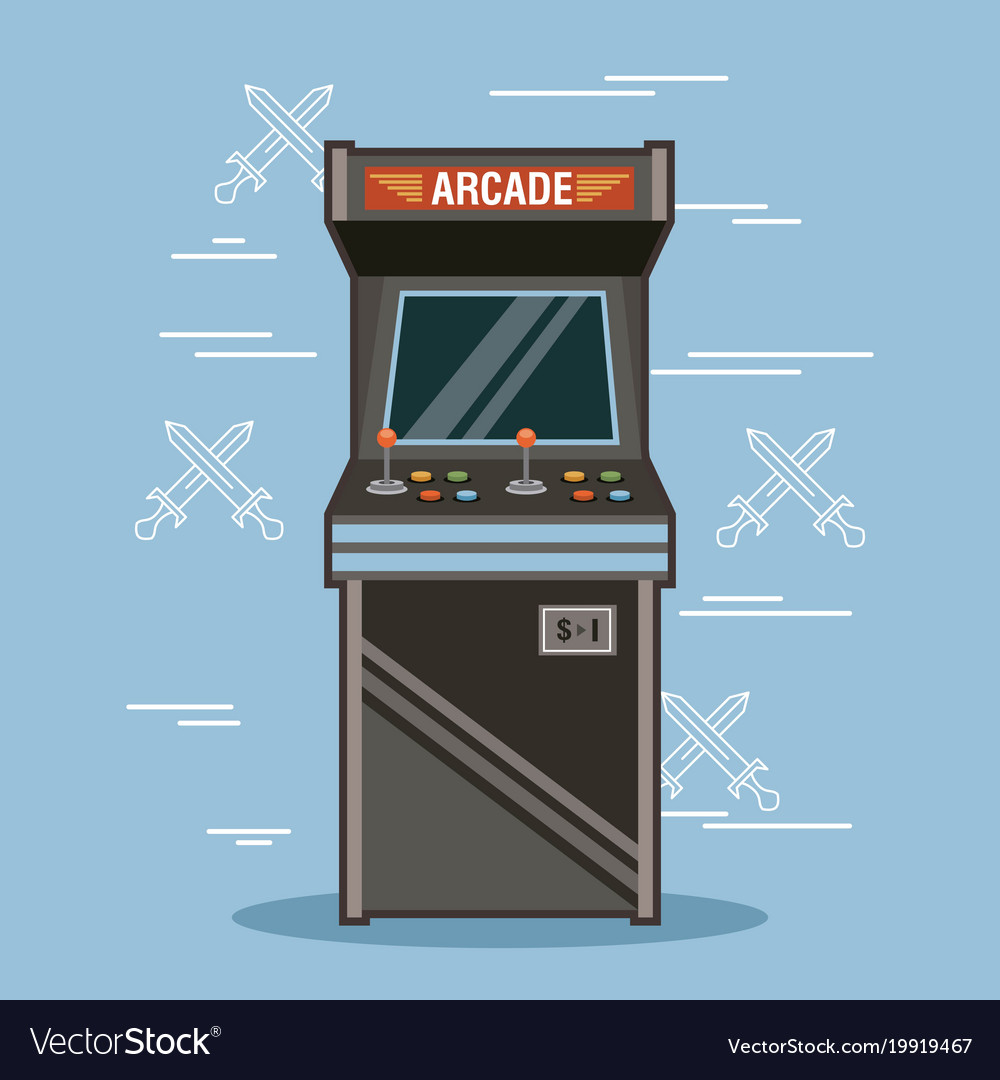 Classic arcade game machine rendering