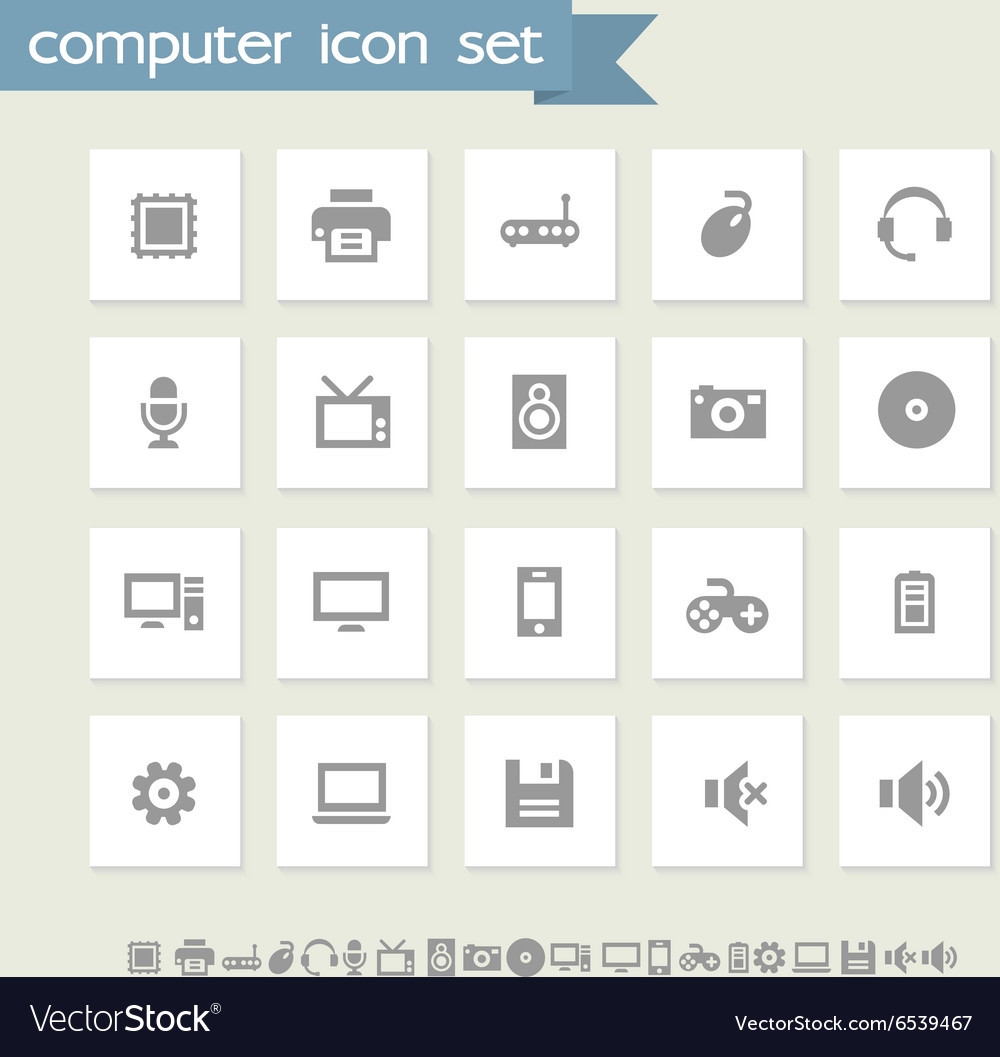 Computer icon set Simple flat buttons