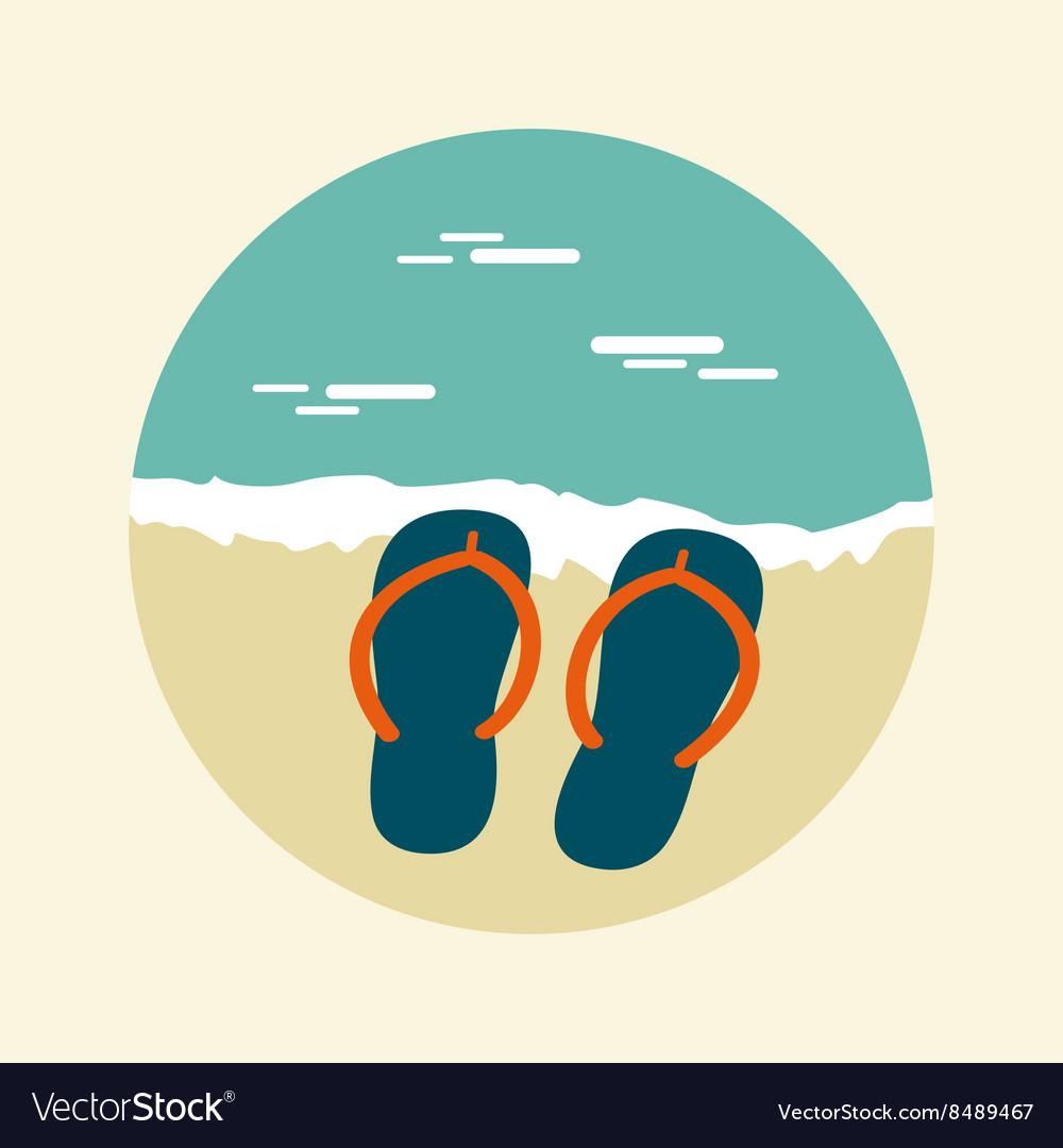 7ed9f94e79f9 Flip Flops icon Summer Sun Sea Beach Royalty Free Vector