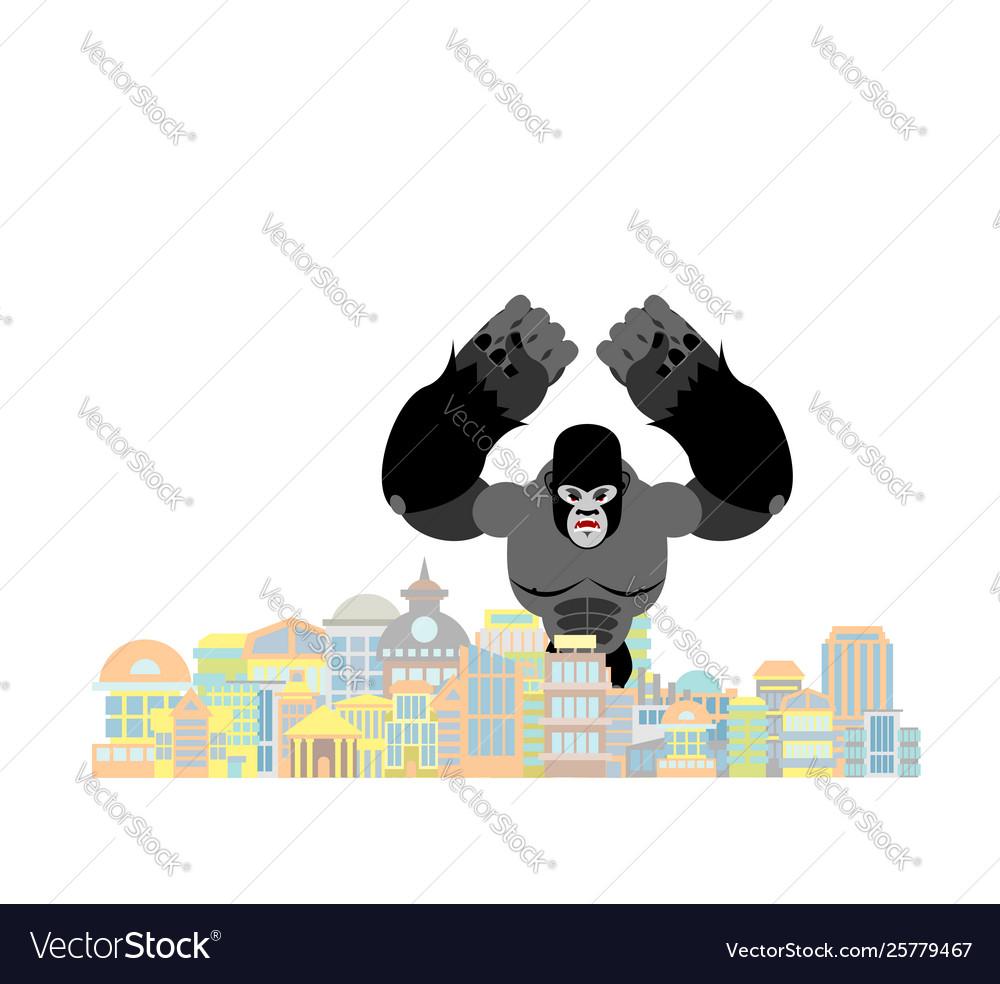 Gorilla in city rampage big monkey destroys town