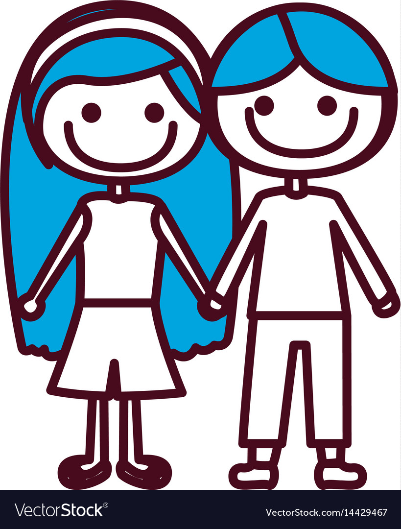 Hand drawing silhouette caricature couple kids vector image