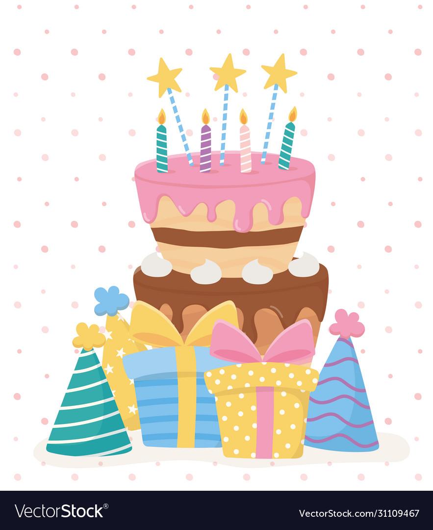 Strange Happy Birthday Cake Candles Stars Ts Hats Vector Image Funny Birthday Cards Online Overcheapnameinfo
