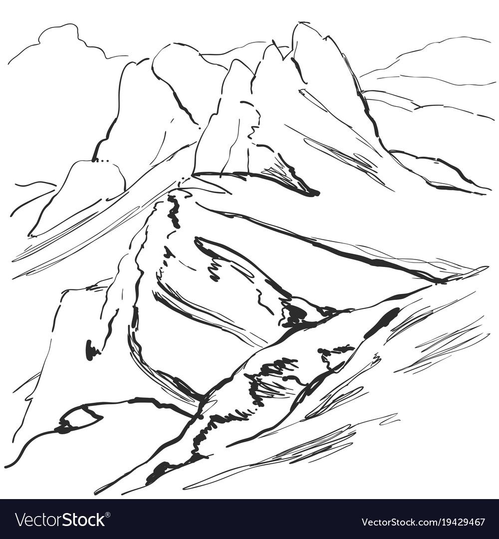 Highland mountain landscape with snowy ridge