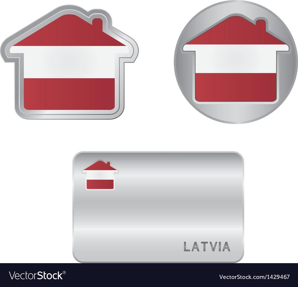 Home icon on the Latvia flag