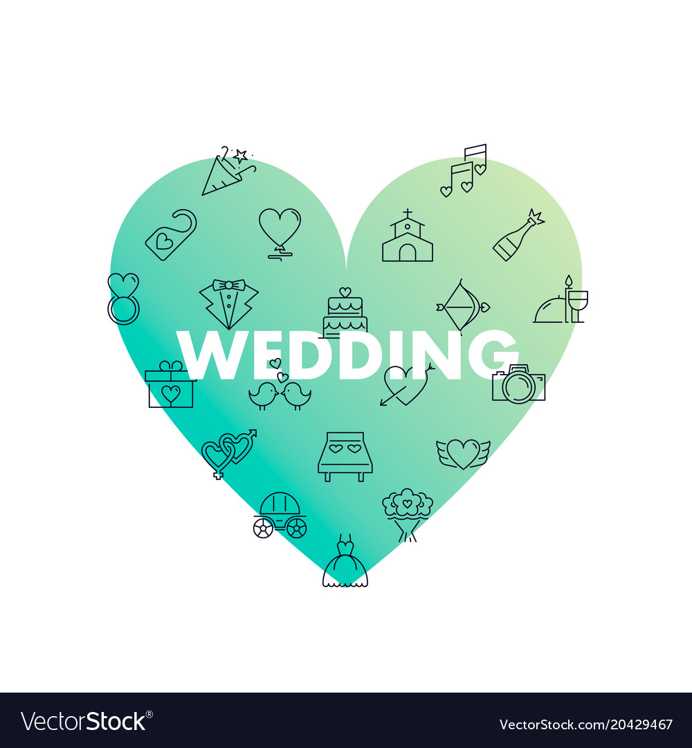 Line icons in heart shape wedding