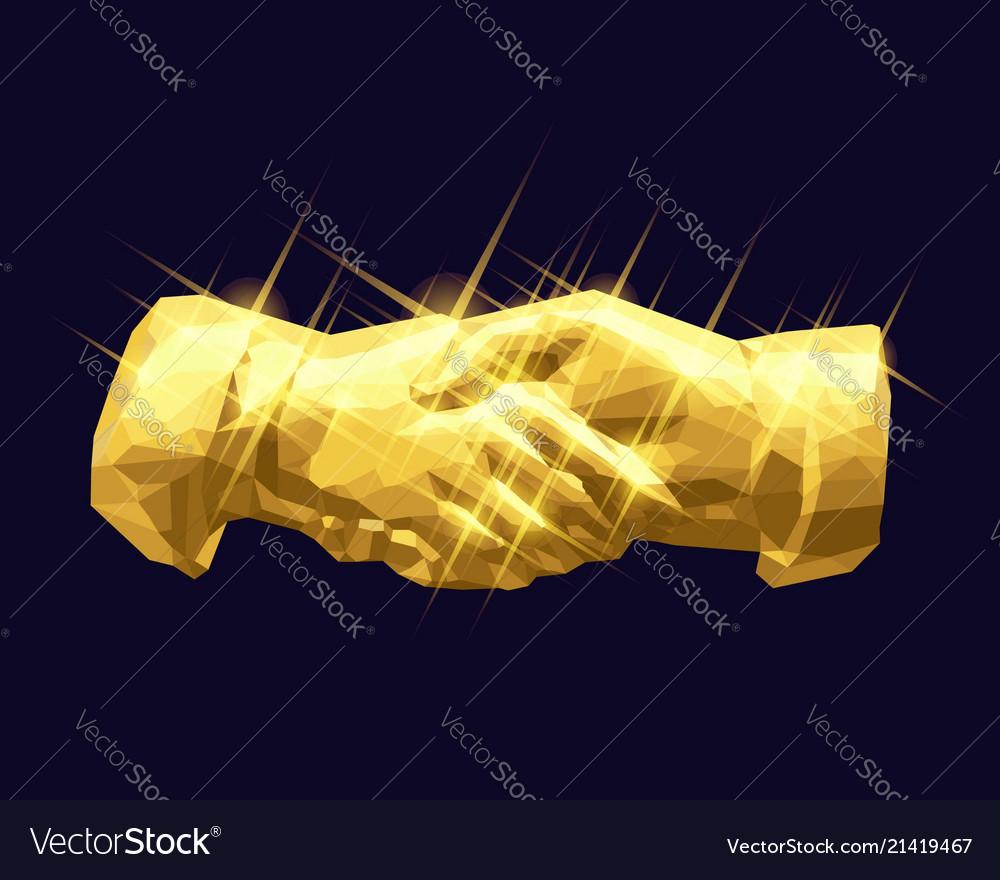 Shaking hands golden low poly design