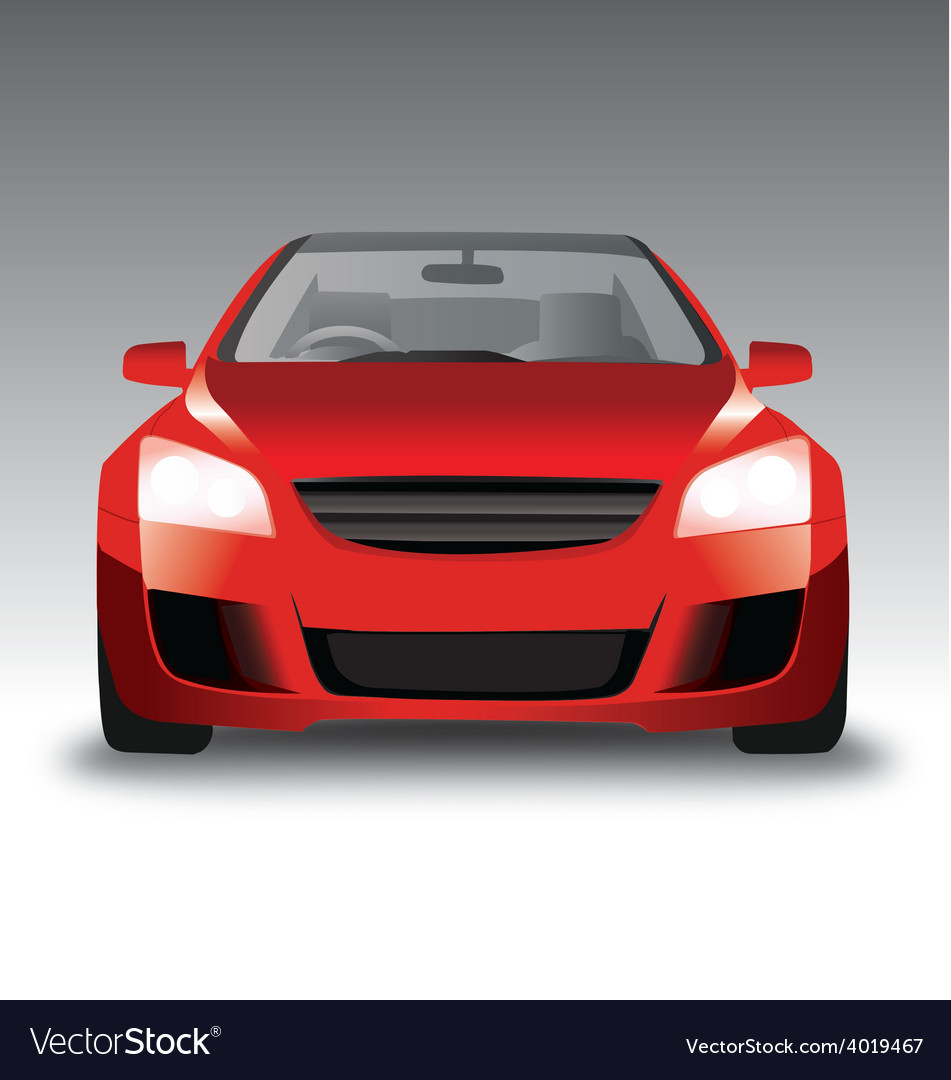 Sports Red Car Front View Royalty Free Vector Image