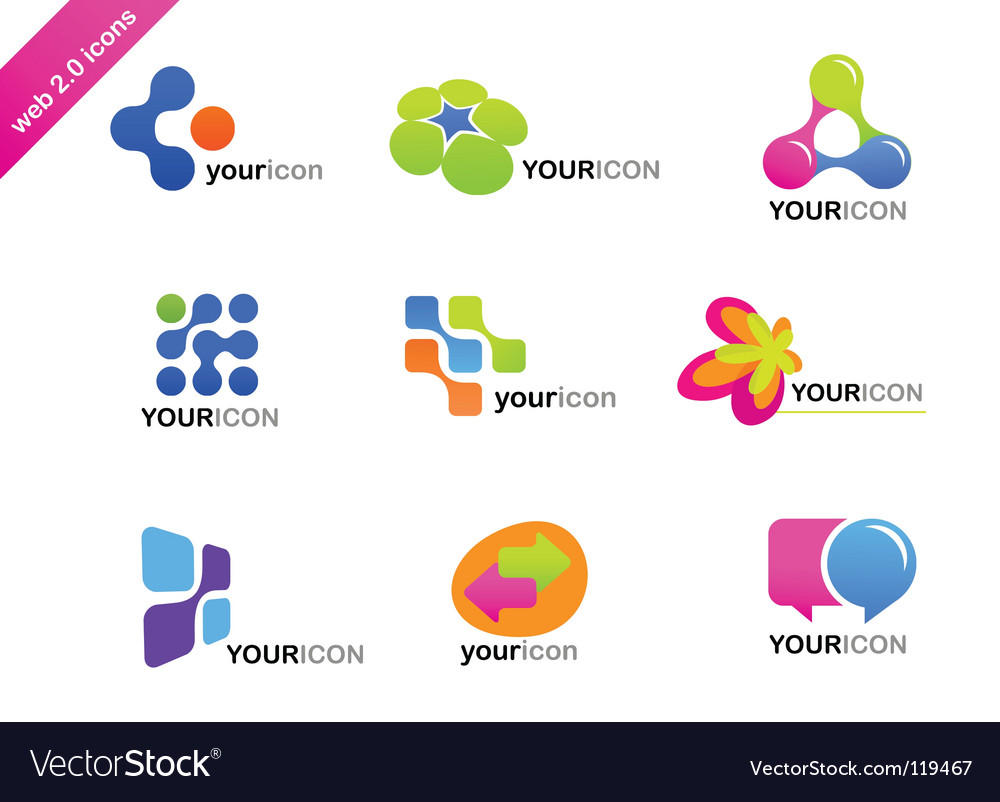 Web icons and logos vector image