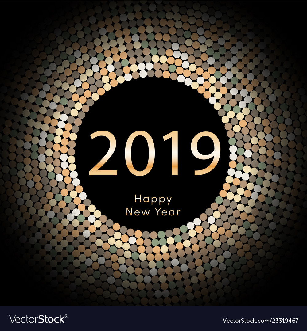 Yellow discoball new year 2019 greeting poster