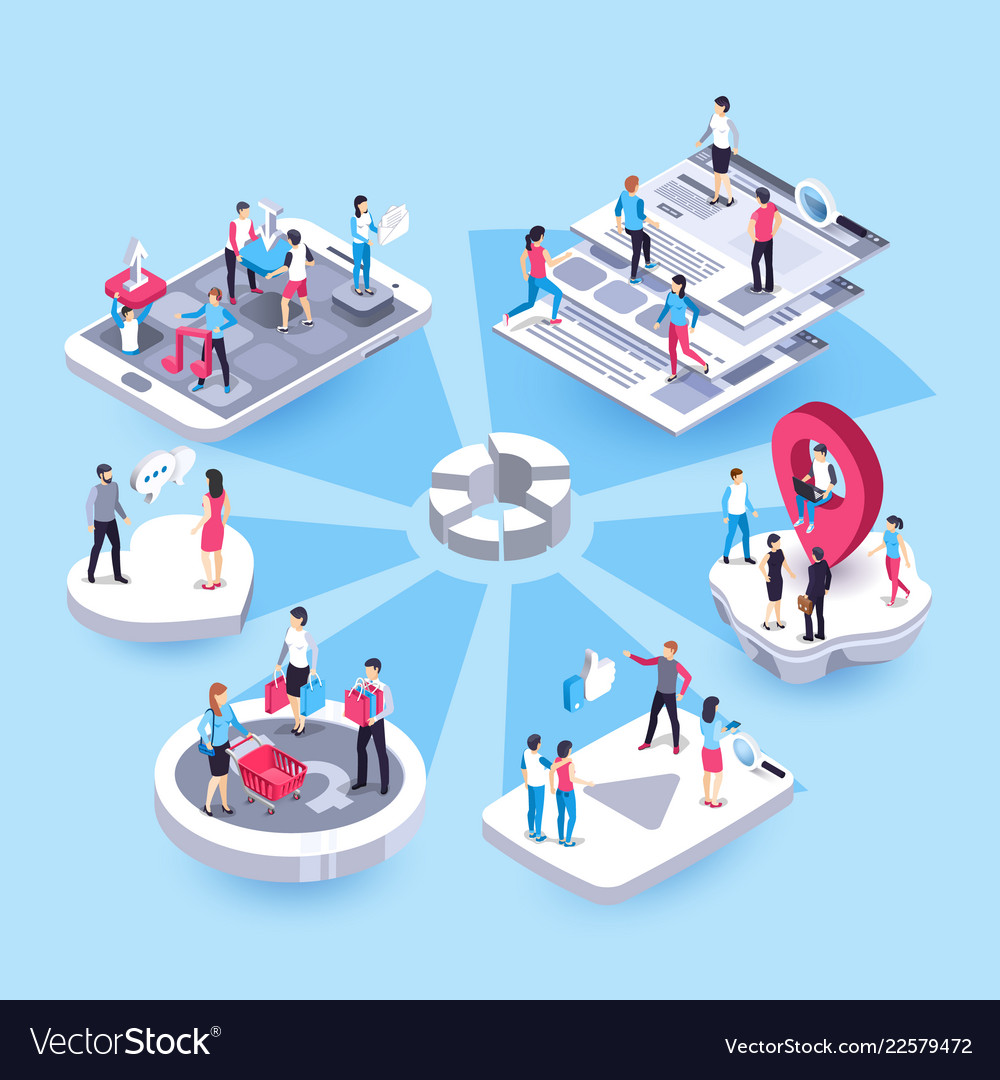 3d isometric marketing people social media market