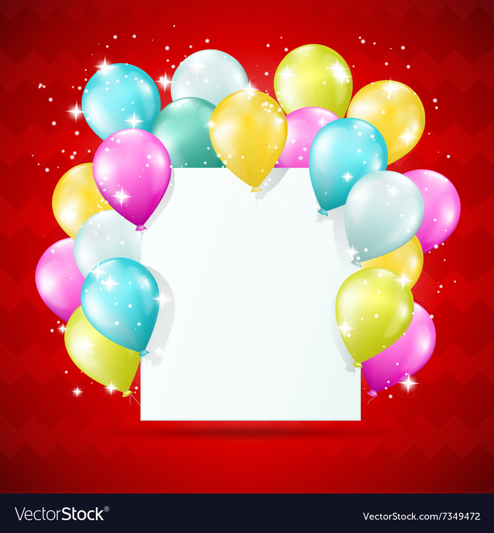 Blank white card with balloons