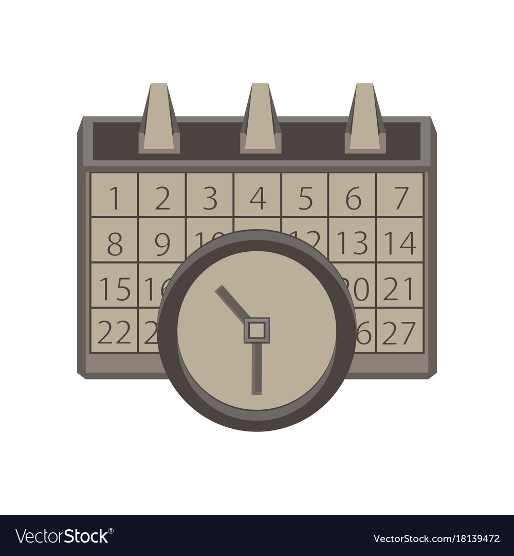 Time And Date Calendar.Calendar Clock Icon Time Date Symbol Sign Concept