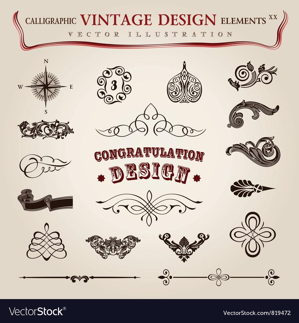 Calligraphic vintage elements vector image