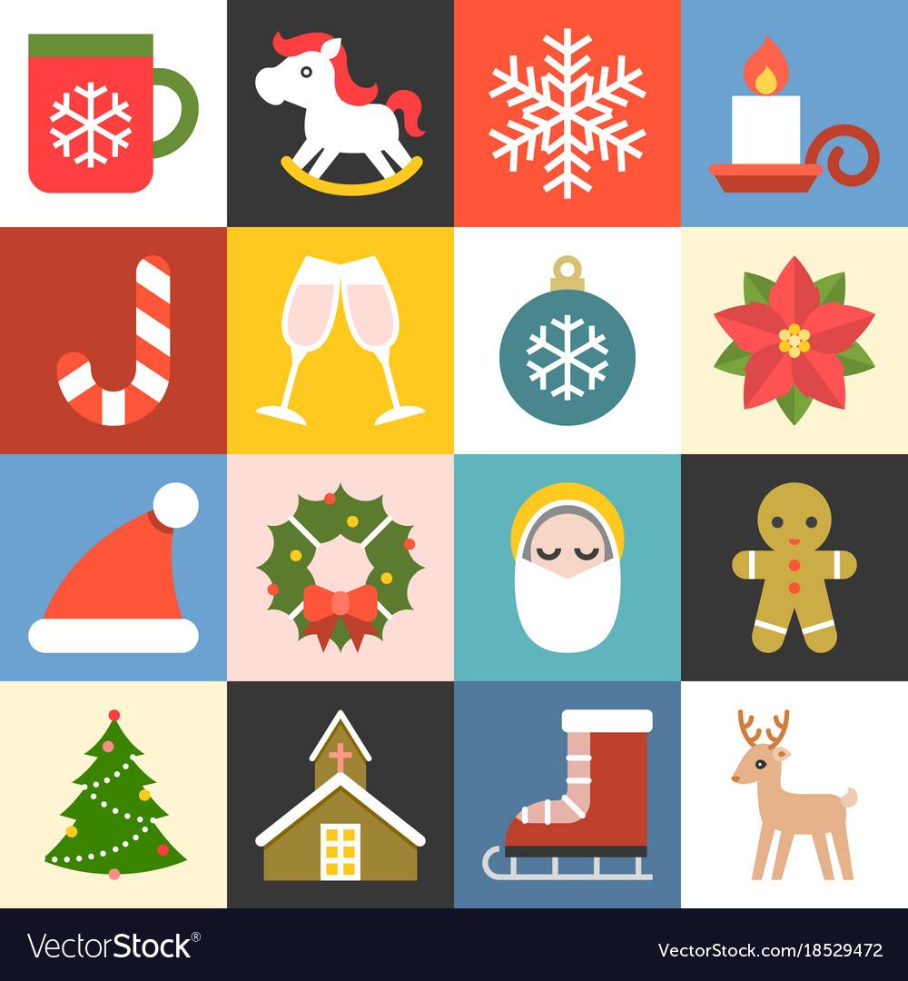 Christmas icons set 2 flat design