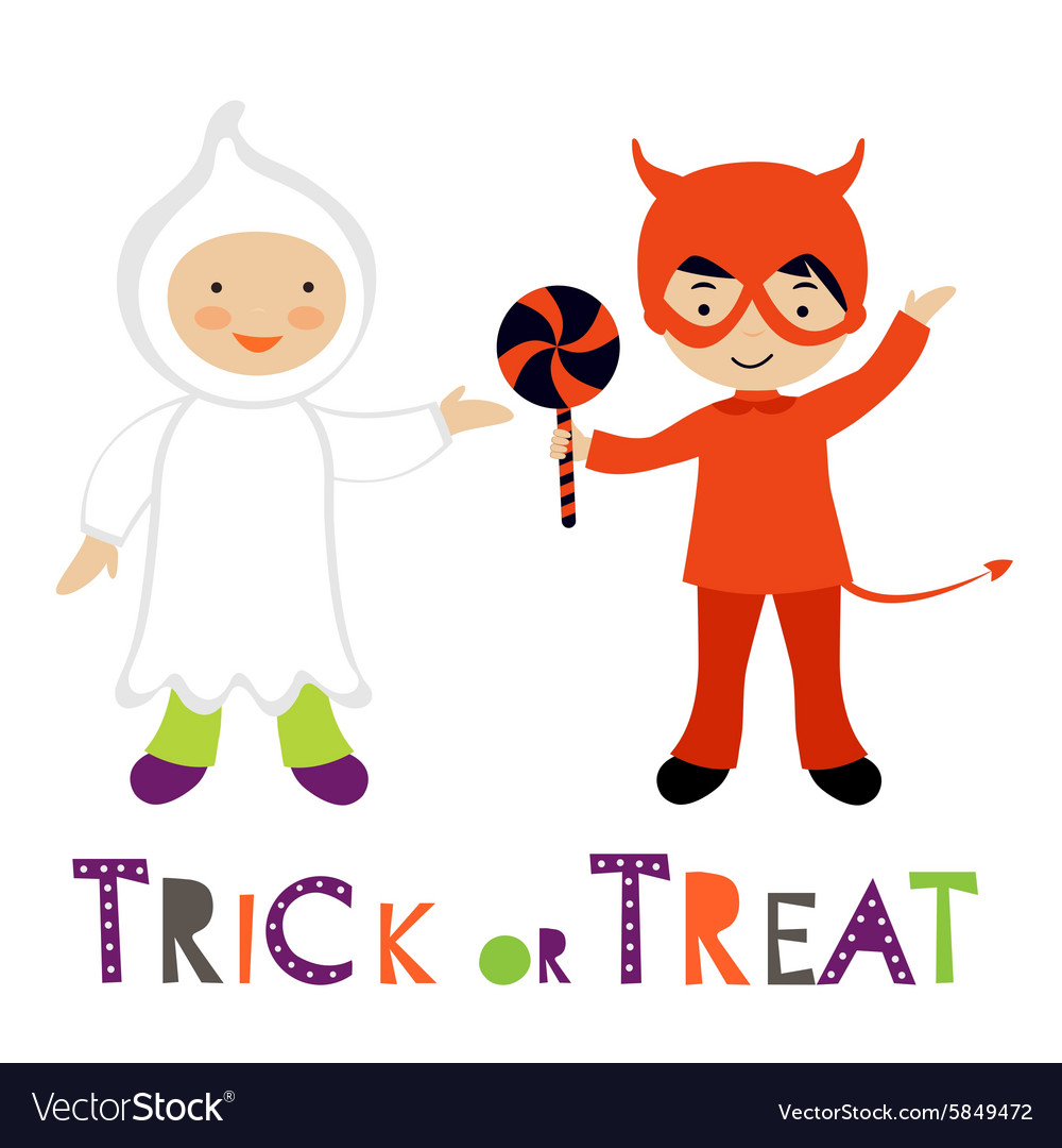 Cute colorful Halloween kids set