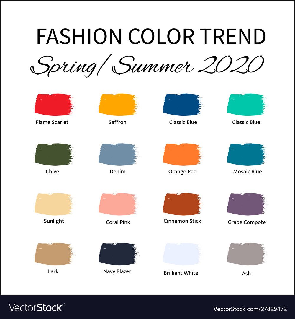 Fashion color trend spring summer 8 trendy Vector Image