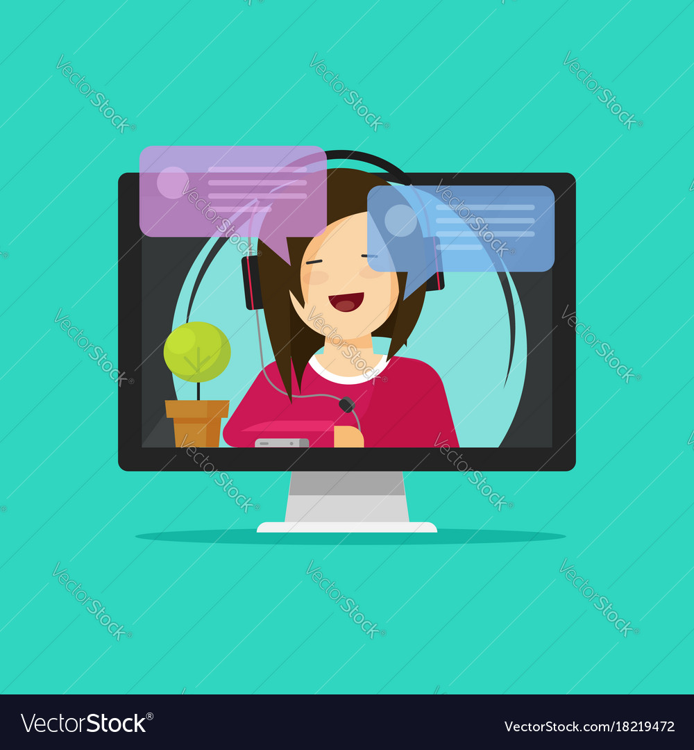 Flat cartoon girl in headset chatting talking on