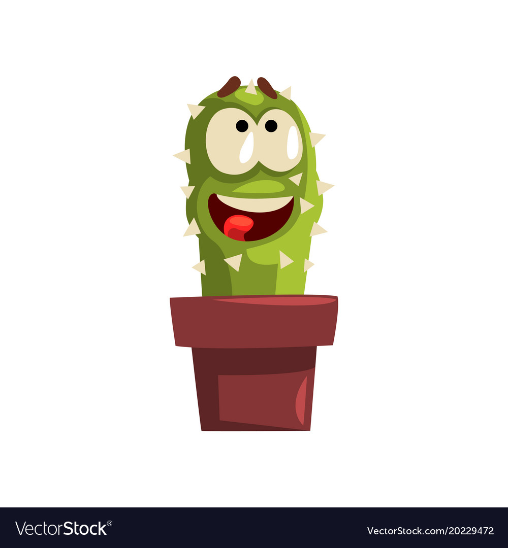 Happy smiling cactus character in a clay pot