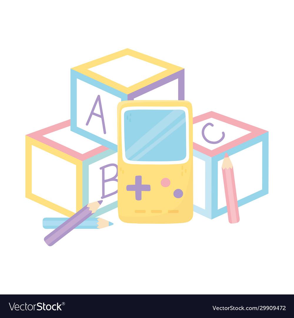 kids zone alphabet blocks video game and pencils vector image