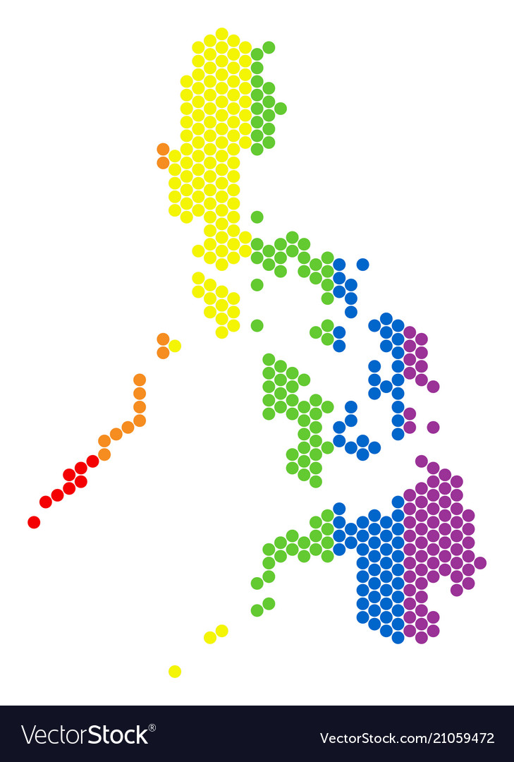Lgbt Spectrum Dotted Philippines Map Royalty Free Vector