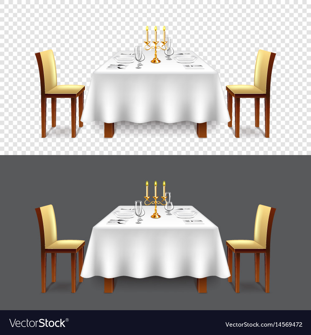 Luxury Restaurant Table For Two Isolated Vector Image - Table for two restaurant