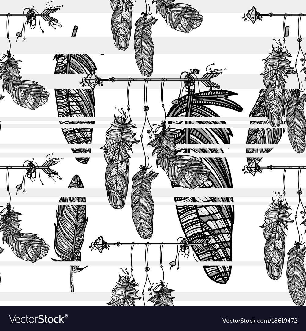 Seamless monochrome pattern with dreamcatcher
