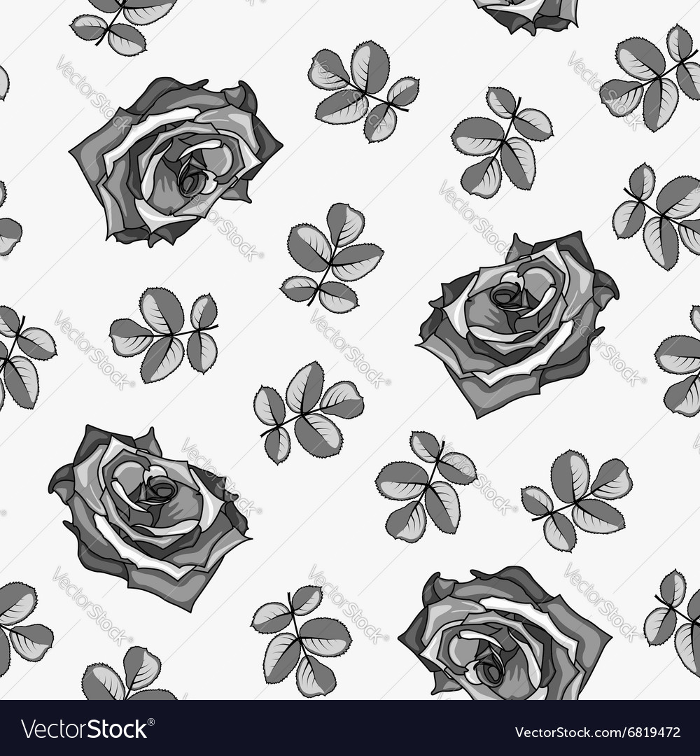 Seamless pattern made from black and white roses