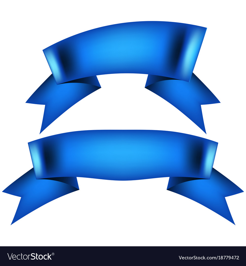set of blue ribbon banners on white background vector image vectorstock