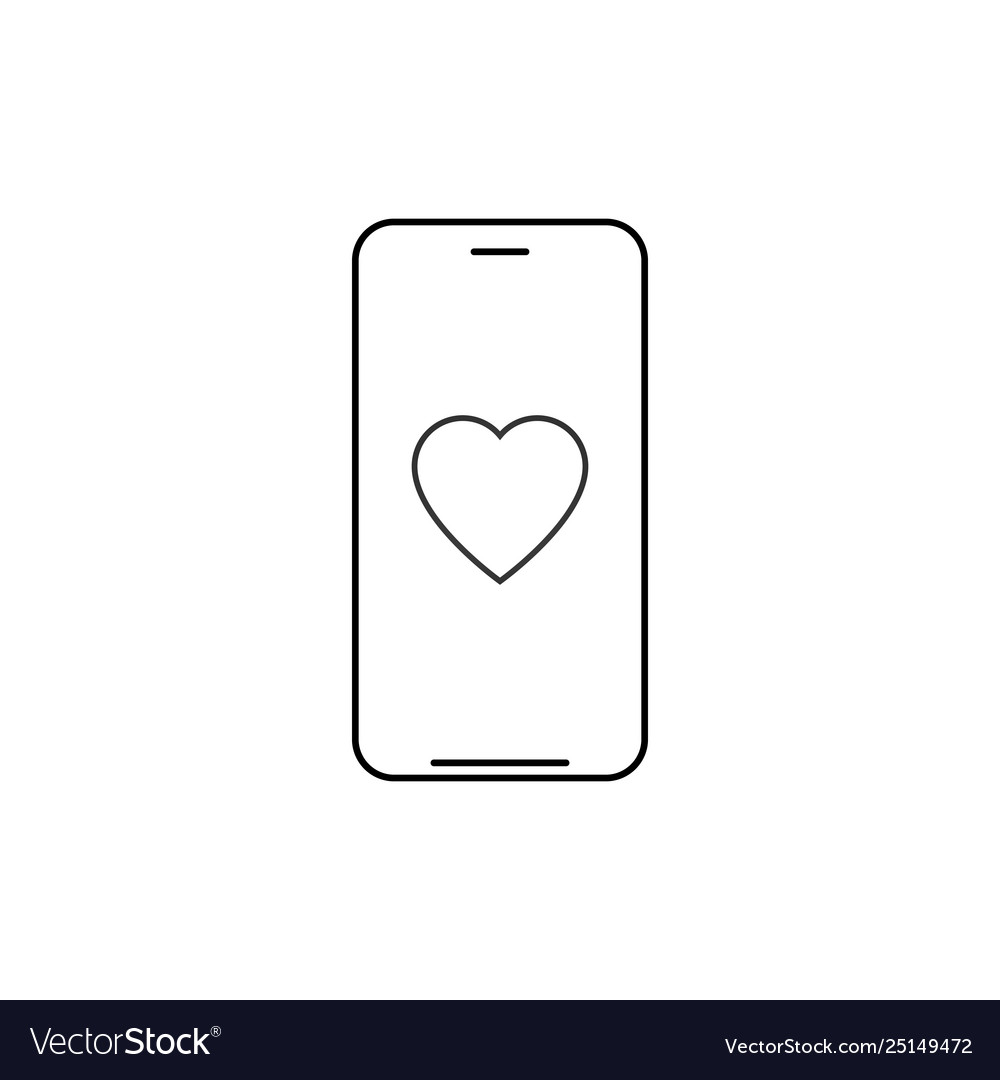 Smartphone with heart outline icon linear style