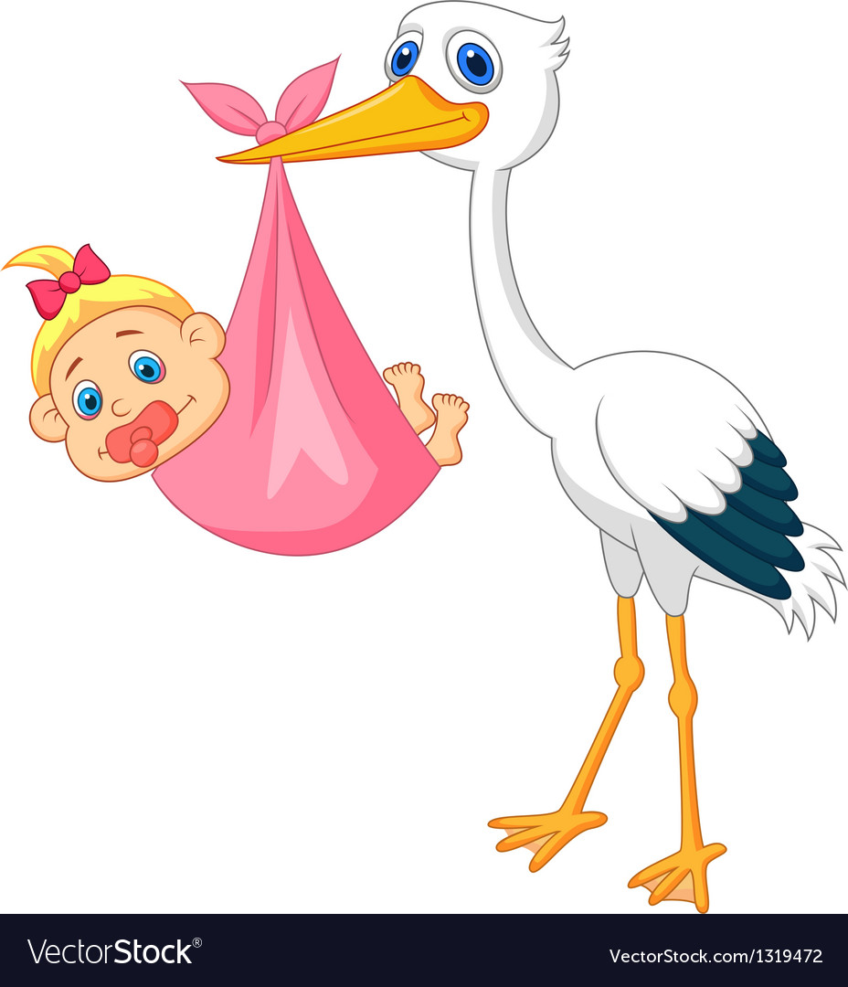 Stork With Baby Girl Royalty Free Vector Image-8202