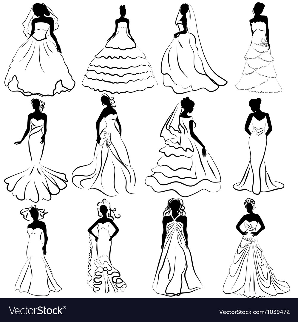 Wedding Bride Gown vector image