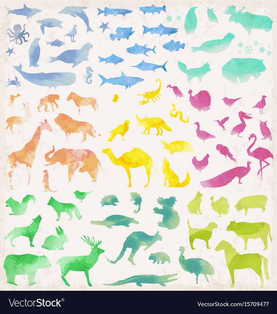 Abstract watercolour animals
