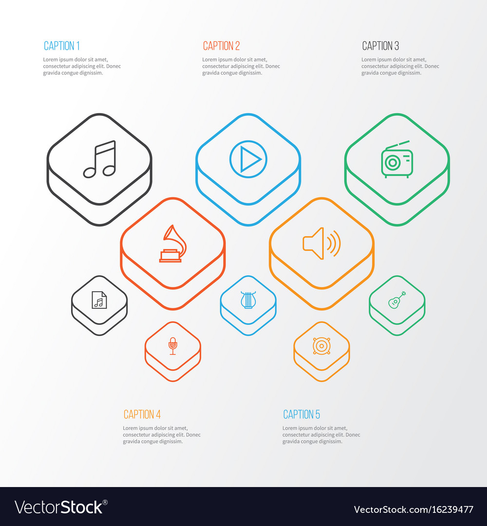 Audio outline icons set collection of audio level