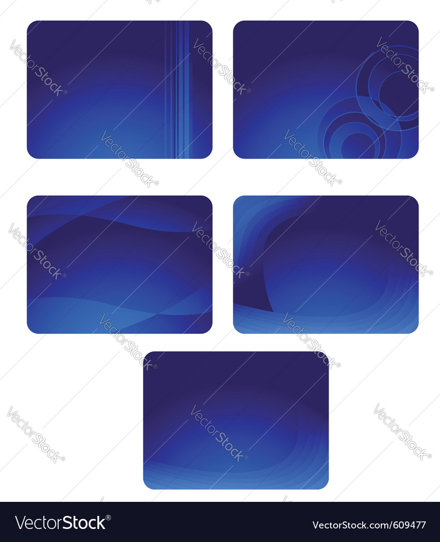 Collection of blue business cards with waves