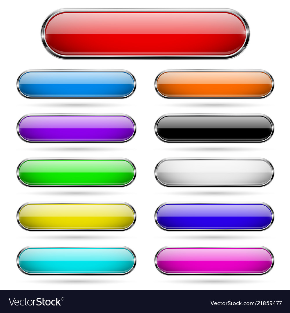 Colored glass 3d buttons with chrome frame oval