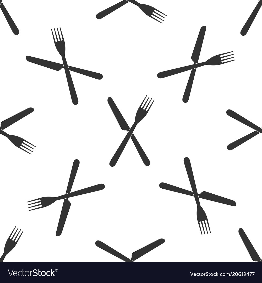 Crossed fork and knife icon seamless pattern