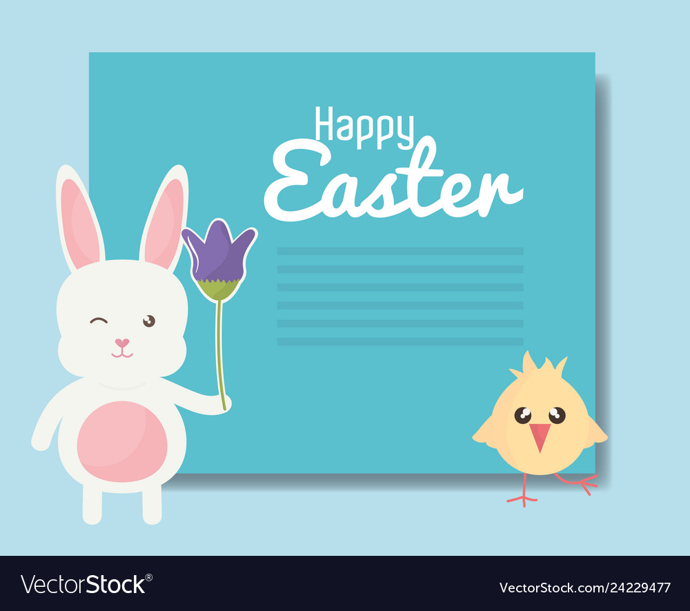 Cute rabbit and chick easter characters