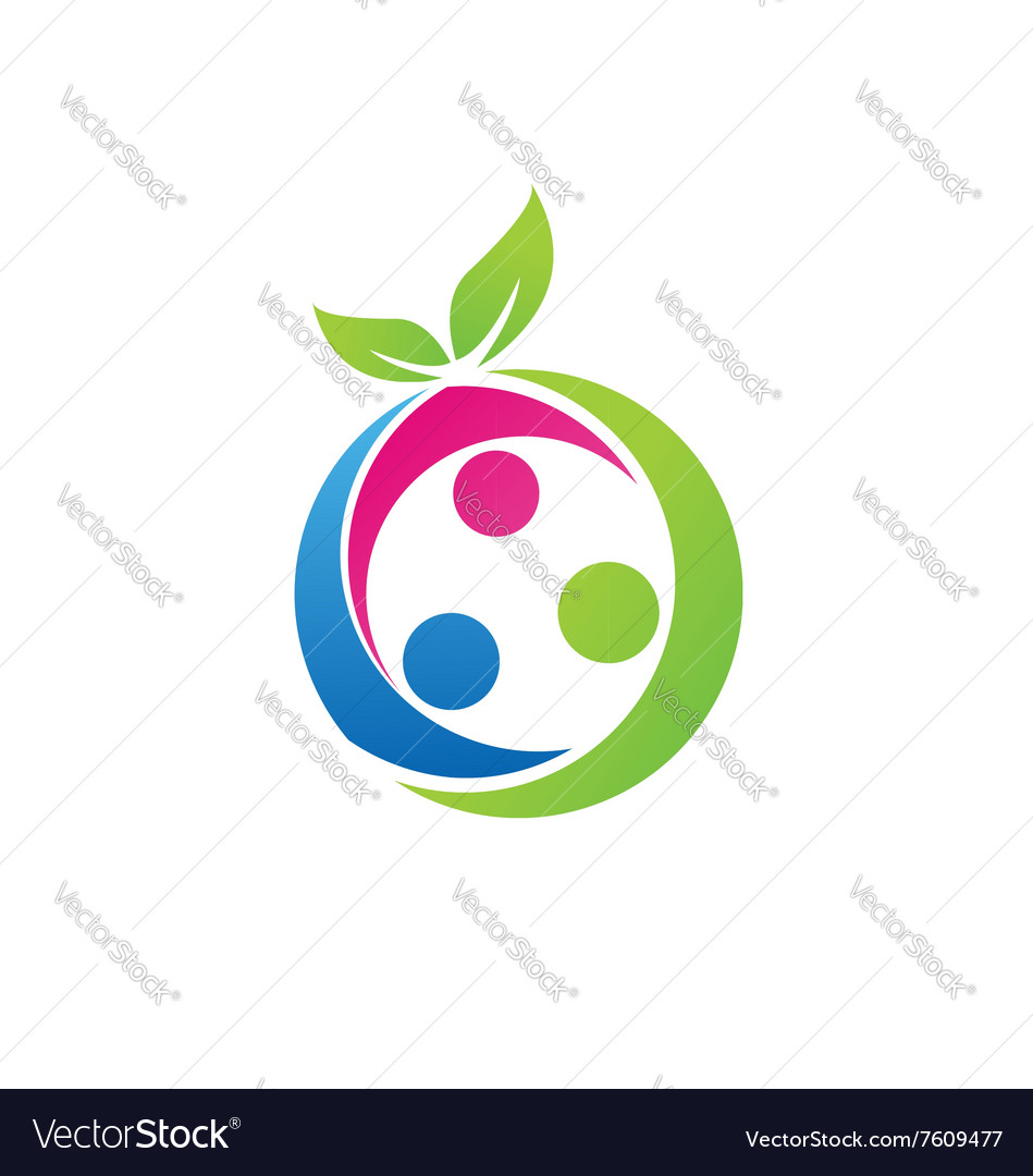 Family Health Concept Logo Nutrition Fruit Symbol Vector Image On Vectorstock