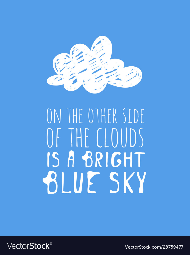 Funny Cloud In Cartoon Style On Blue Background Vector Image