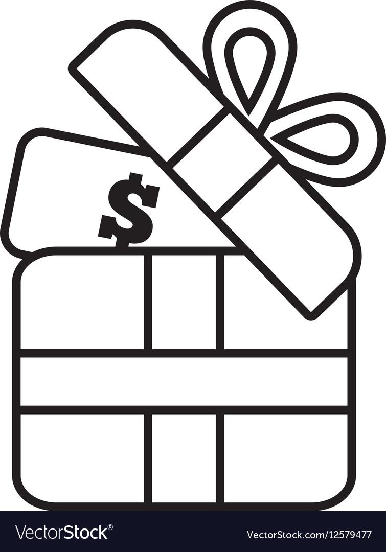 Gift box money dollar wrap ribbon line