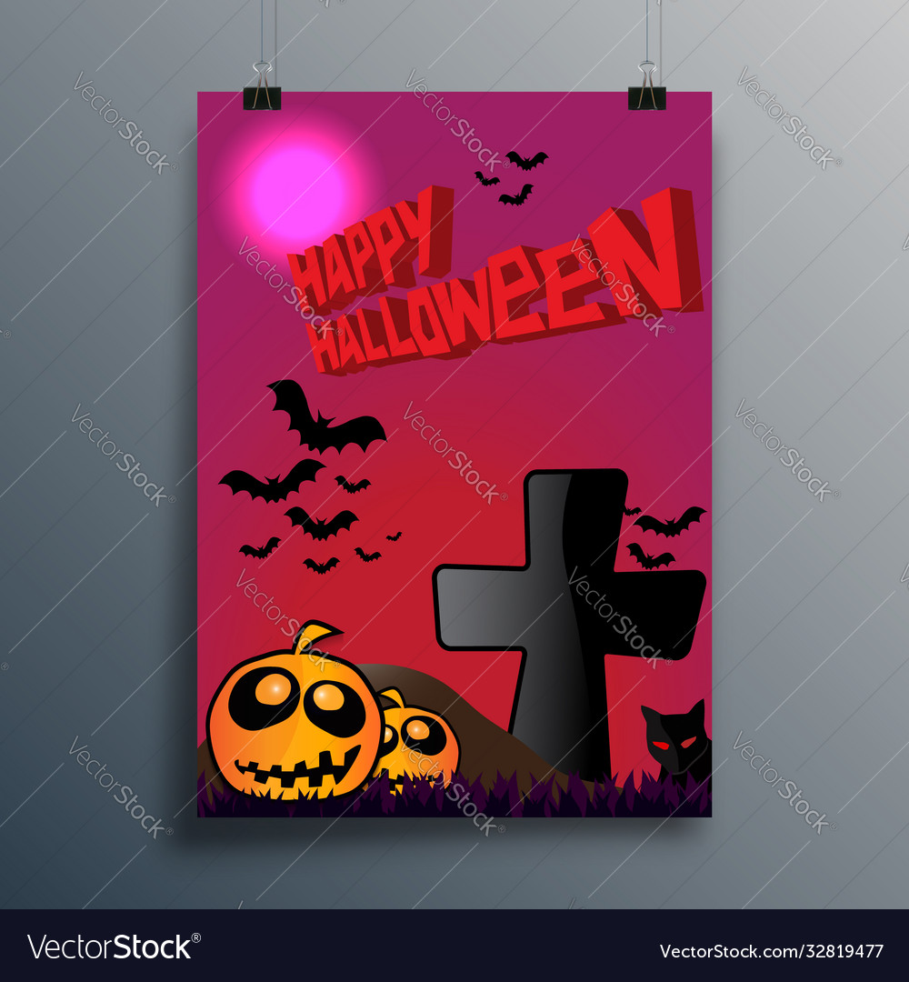Happy halloween typography design for poster