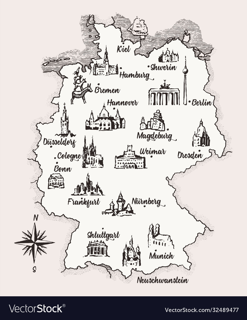 Map germany old school style vintage retro