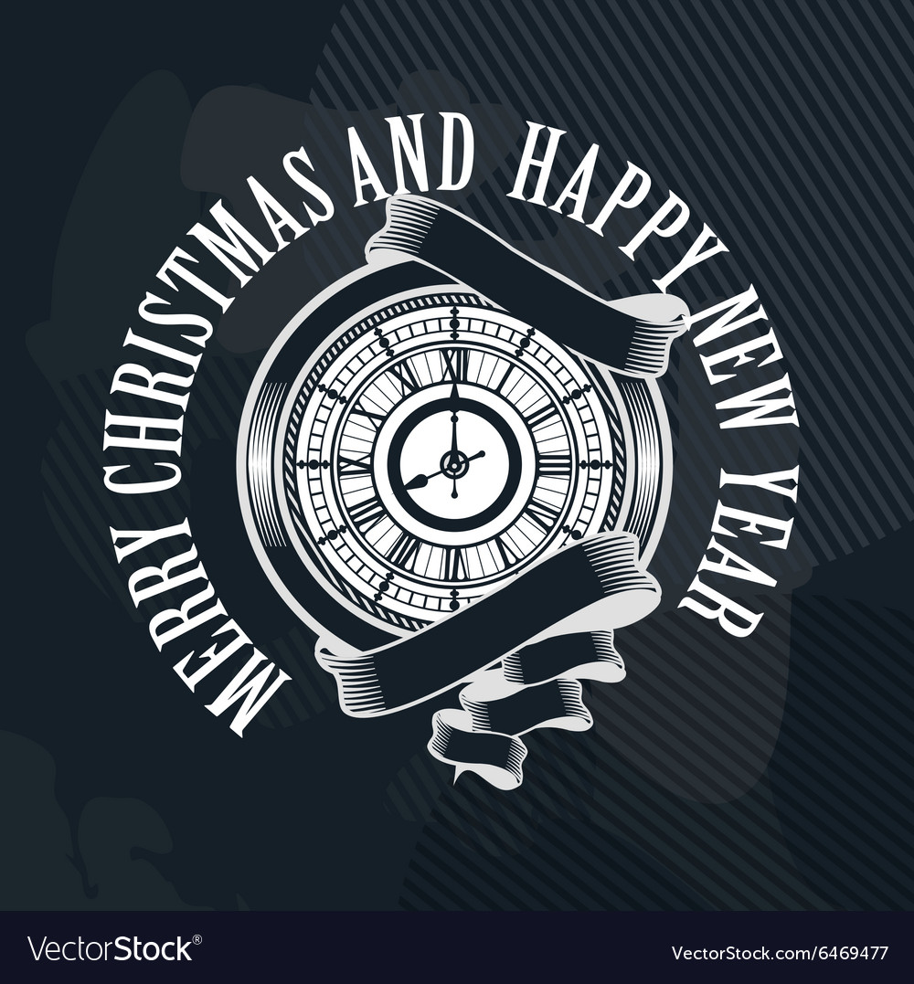 Merry Christmas clock vector image