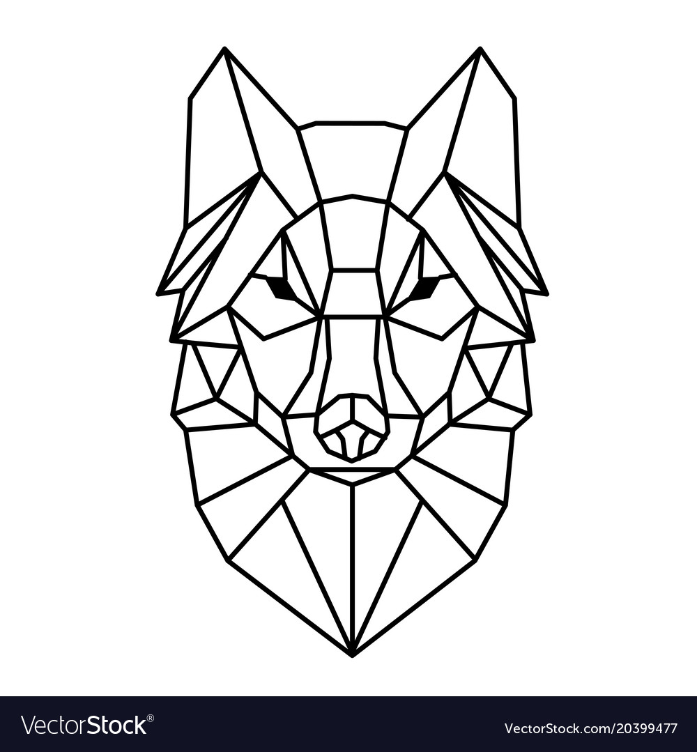 Modern Geometry Wolf Design Tattoo Image