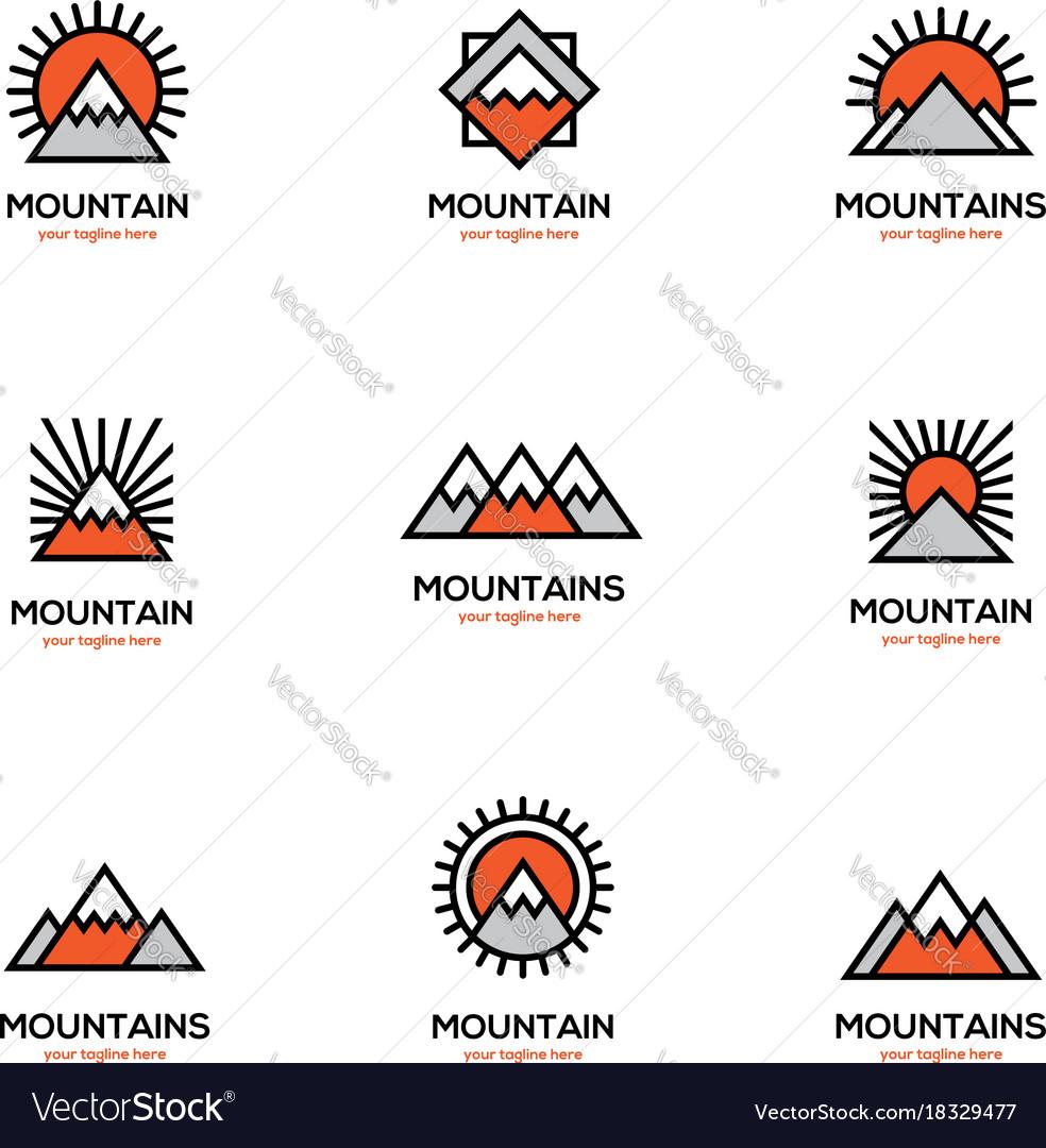 Mono line mountain icon set