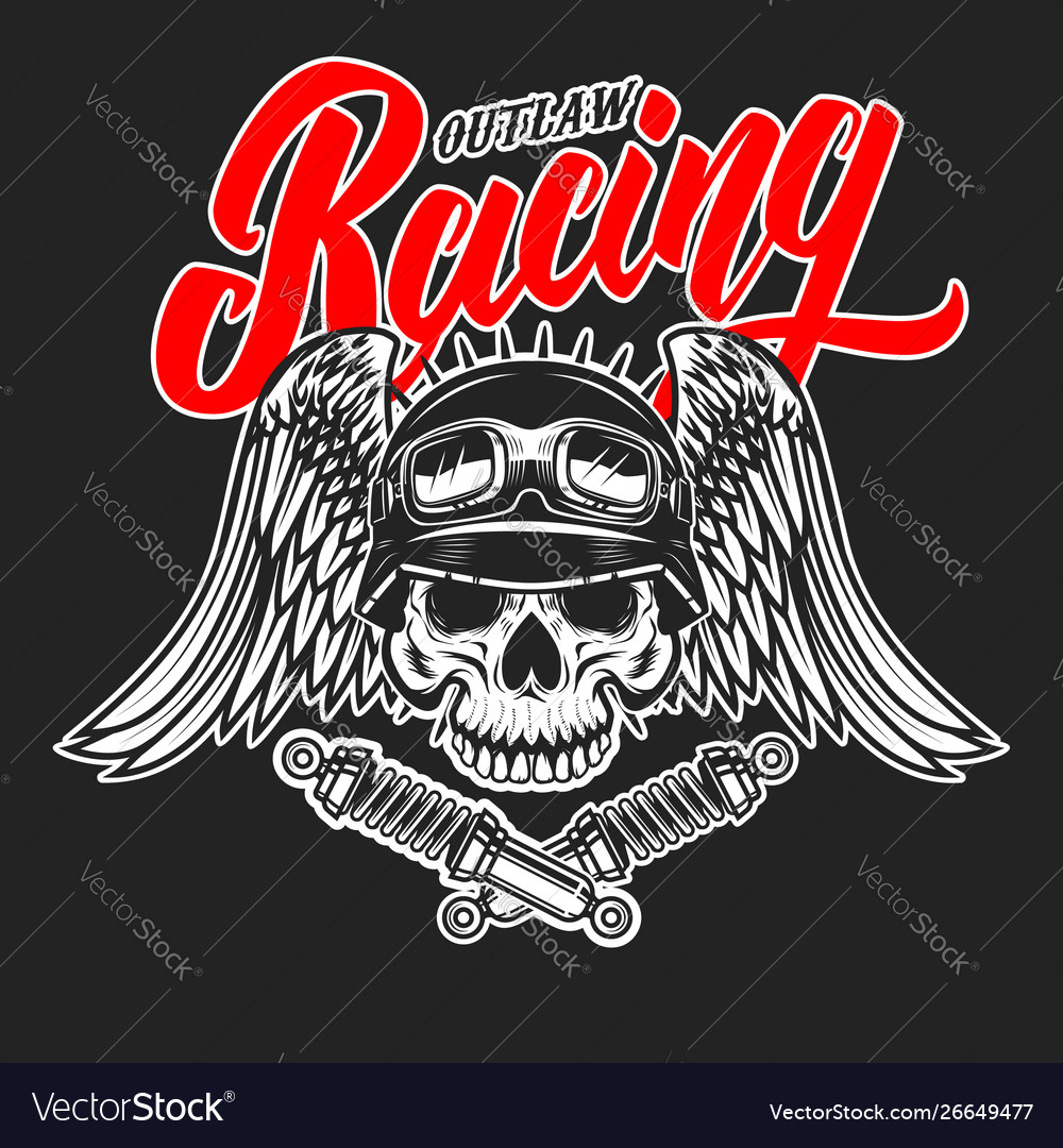 Outlaw racing emblem template with skull in racer